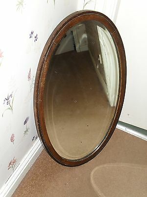 Antique Oval Oak? Framed Heavy Mirror. 18 inches x 29 inches