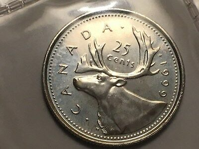 1999 P Plated Canada 25 Cents Test Scarce Mintage 20,000