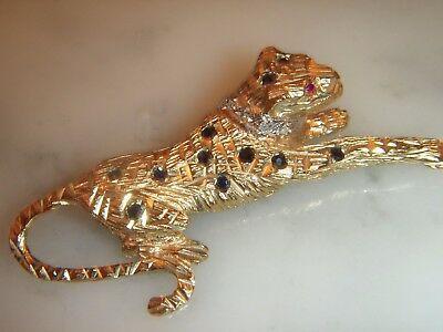 Stunning Vintage  Solid 9 Ct Gold Ruby,sapphire And Diamond Leopard Brooch