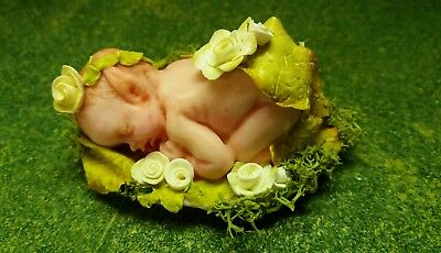 fairy baby, white roses, - by Debbie