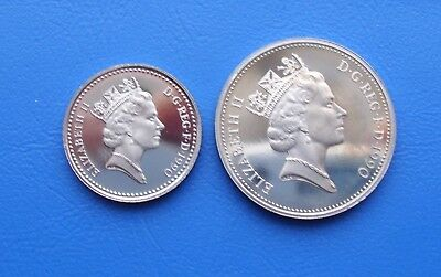 1990 Proof Large And Small 5P Five Pence Coins Uncirculated (Toned)
