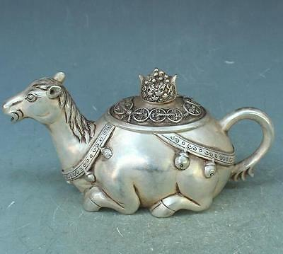 china Old Silve Copper Hand Carved / horse teapot With Ming Dynasty Mark
