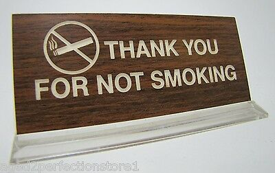 Vintage Thank You for Not Smoking Sign woodgrain counter desk top advertising
