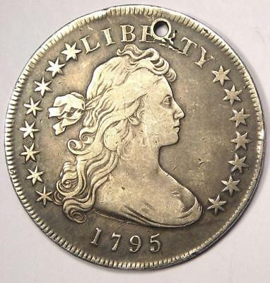 1795 Draped Bust Silver Dollar $1 - VF Details (Holed) - Rare Type Coin!