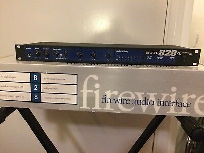 Motu 828 Mk1 Firewire Audio Interface 24 bit + Manual + Power Supply