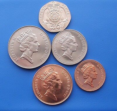 1987 20P 10P 5P 2P And 1P Coins Brilliant Uncirculated