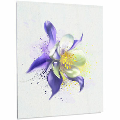 Design Art 'Purple Flower with White Petals' Painting Print on Metal