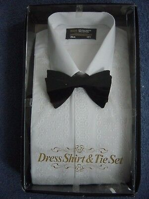 Bhs Vintage White Poly/cotton Embroidered Dress Shirt & Velvet Bow Tie 15.5 Bnib