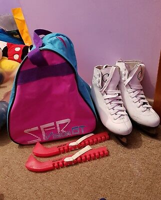 SFR GALAXY ICE SKATES Size 2 - WHITE ,BAUER  PINK GUARDS,  PINK BLUE PURPLE BAG