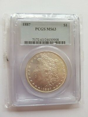 1887 United States Morgan $1 One Dollar Silver Coin PCGS MS63 1oz