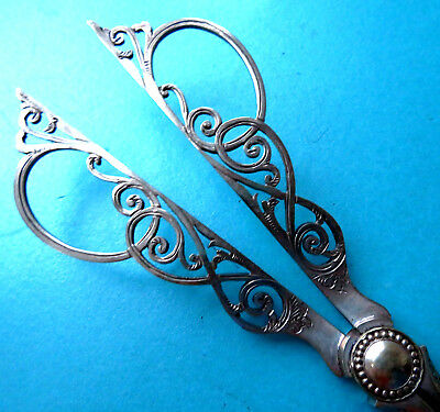 Antique Ornate Quality Silverplated Dining Table Grape Vine Scissors