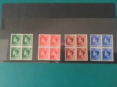 Gb mint stamps (r5) King Edward V111 Definitives blocks of four.
