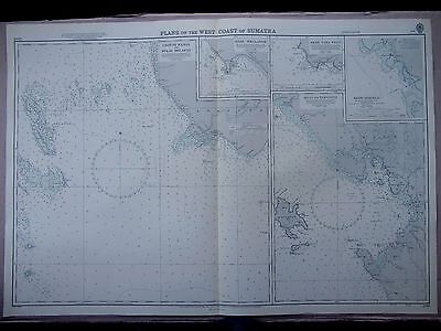 "1960 PLANS on The WEST COAST of SUMATRA Admiralty Sea MAP CHART 28"" x 41"" D07"
