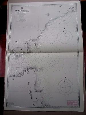 "1970 (1906) STRAIT of GIBRALTAR Approach Navigation Sea Chart MAP 28"" x 41"" C03"