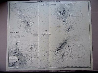 "1953 RED SEA ~ ZUBAIR Jabal Zuqar HANISH ISLANDS Map 28"" x 34"" D92"