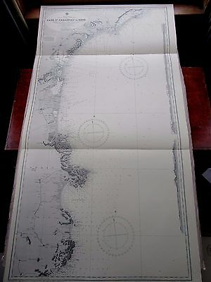 "1963 SPAIN & FRANCE South Coast NAUTICAL Sea Navigation Chart MAP 28"" x 52"" B72"