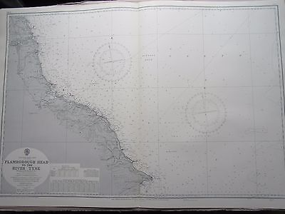 "1967 FLAMBOROUGH HEAD to THE RIVER TYNE Nautical SEA MAP Chart 28"" x 41"" A34"