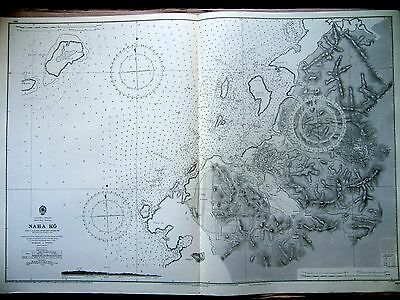 "x1969 NAHA KO Nansei Shoto Okinawa Shima JAPAN Sea Map Chart 28"" x 41"" D03"