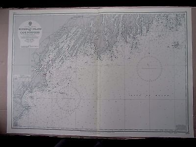 "1968 USA MAINE East Coast MONHEGAN ISLAND to CAPE PORPOISE Sea Map 28"" x 41"" B83"