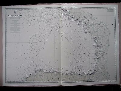 "1972 SPAIN - BAY of BISCAY Navigational Sea Chart Map 28"" x 41"" B51"