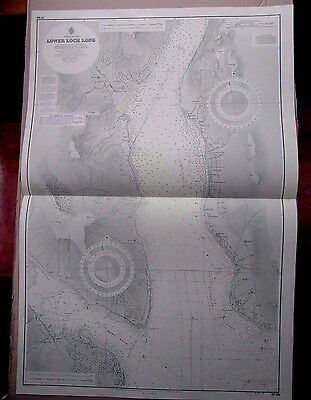 "1972 Lower LOCH LONG SCOTLAND Nautical Admiralty Map Chart 28"" x 41"" B02"