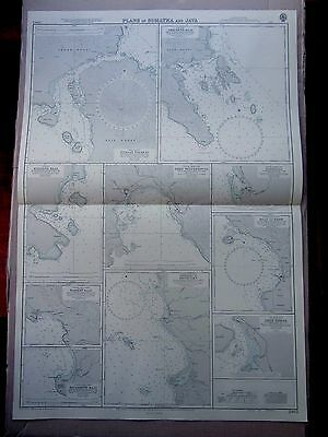 "1967 PLANS in SUMATRA & JAVA Indonesia - Admiralty Map Chart 28"" x 41"" D89"