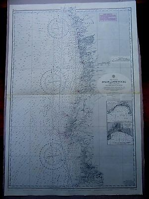 """1970 West Coast SPAIN & PORTUGAL Admiralty Navigation Map 28"""" x 41"""" D67"""