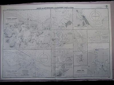 "1948 CUBA East Coast PORTS & ANCHORAGES Navigation Sea MAP Chart 28"" x 41"" C29"