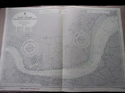 """1964 RIVER THAMES Broadness to Mucking Flats ADMIRALTY MAP CHART 28"""" x 41"""" A48"""