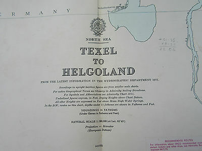 """1978 TEXEL to HELGOLAND Netherlands Germany - North Sea MAP Chart 28"""" x 41"""""""