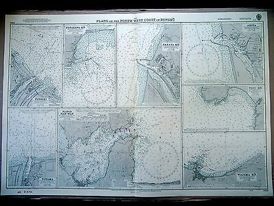 """1968 JAPAN Plans of Harbours & Bays NW HONSHU Admiralty Map Chart 28"""" x 41"""" D59"""