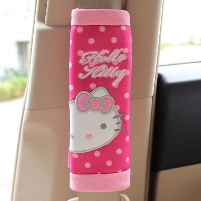 2pcs Hello Kitty Rose Car Seat Belt Cover Shoulder Pads Car Interior Accessories