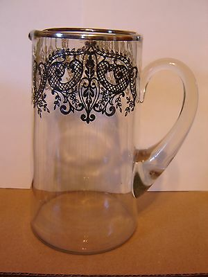 """Vintage Silver Overlay Glass Pitcher 8 1/2"""" high"""