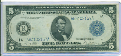 Very Nice Au 1914 $5 Large Size Federal Reserve Note Boston District