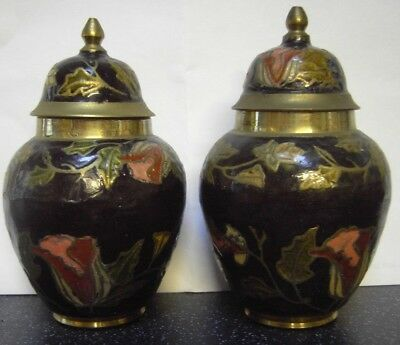 PAIR OF VINTAGE ENAMELLED SMALL BRASS CONTAINERS / URNS. Cloisonne style