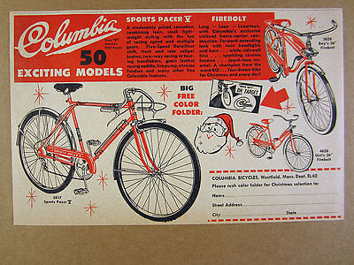 1962 Columbia Sports Pacer & Firebolt Bicycles Bikes vintage print Ad