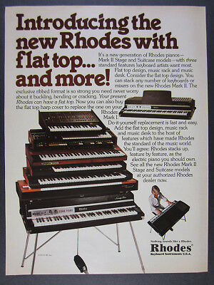 1979 Rhodes Mark II Stage & Suitcase Model Pianos vintage print Ad