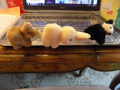 vtg Lot clip on plush huggers Brown Teddy bear White Black Panda Ivory Bunny Toy