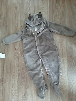 Christmas reindeer baby grow boy suit outfit all in one 18-24 months