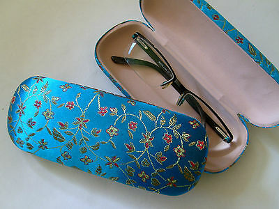 Silk Brocade Hard Glasses Case - Small Flowers - Turquoise
