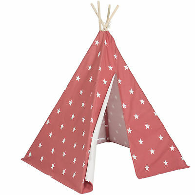 Indoor/Outdoor 6' Kid's Teepee Tent Playhouse W/ Carrying Case- Star Bright Red