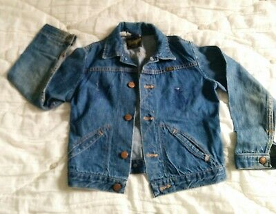 Vintage Wrangler Kids Selvedge Denim Trucker Jacket Sz 10 USA Made 70s? Hipster