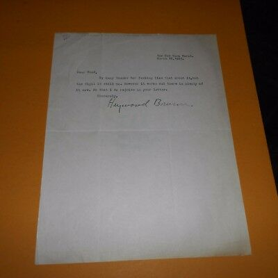 Heywood Broun was an American journalist Hand Signed 1925 Letter