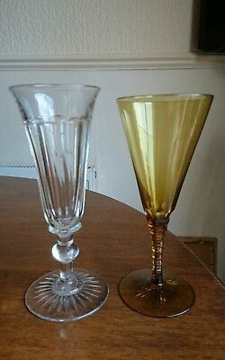 2 Antique Victorian / Edwardian Glass Wine Glasses / Ale Flutes.cut Crystal .