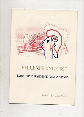 Philexfrance 1982   Encart Exposition Internationale