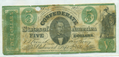 "Contemporary Counterfeit 1861 $5 Confederate Note Csa Civil War ""bug Eyed"""