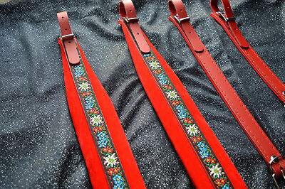 Accordion straps shoulder professional genuine leather and velvet 6cm DELUXE