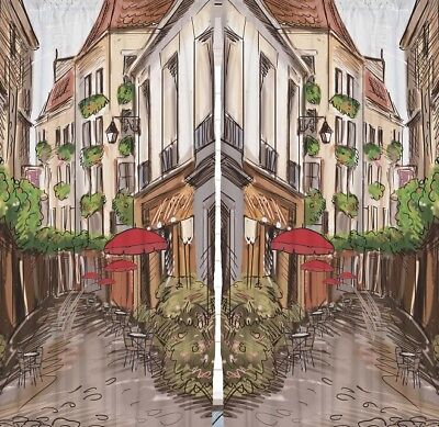 """Street Cafe French Town CURTAIN PANEL Set Painting Vintage Look Art Decor 90"""""""