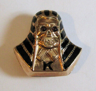 Rare 9K Solid Pink Gold Enamel Garnet Pharaoh Skeleton Fraternity Pin 1.9 Grams