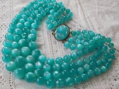 Fabulous HUGE Vintage 1960s Chunky Blue Lucite Four Strand Necklace